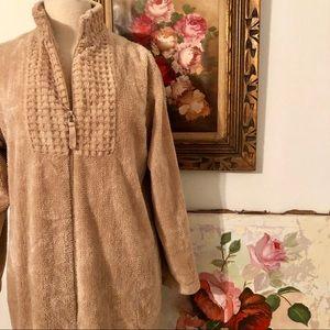 STAN HERMAN Luxurious Lounge ZIP Front plush Robe